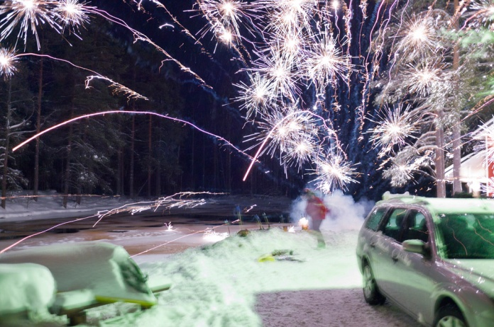Firework malfunction, New Year's Eve, Finland, 2012.