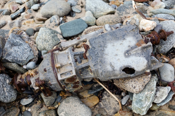 washed up motor on seaview beach, Wexford, Ireland.