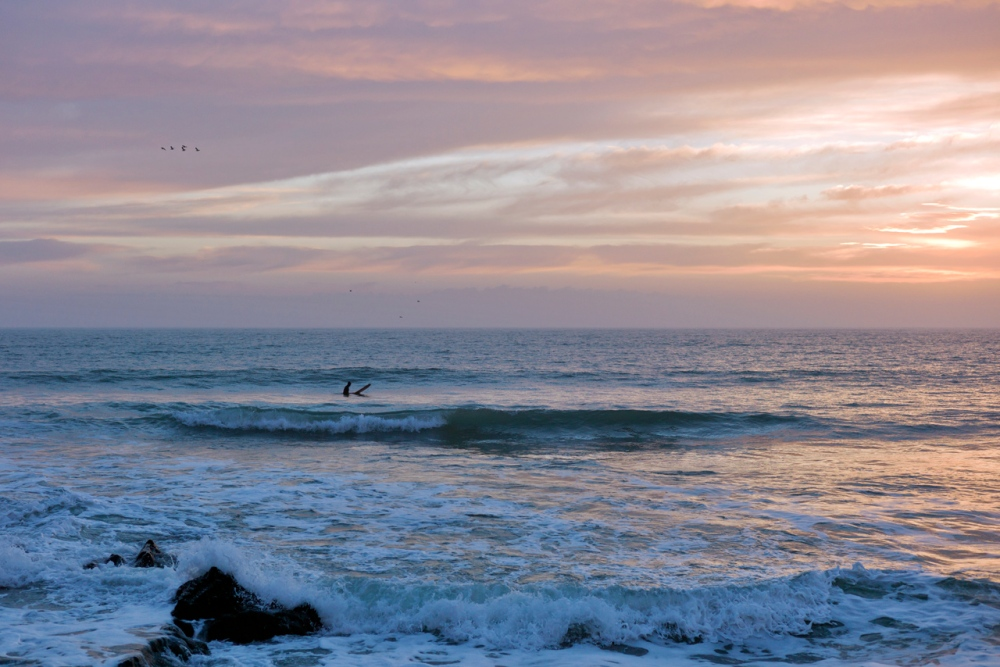 Lone Surfer at Sunset (2/6)